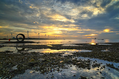 autumn glow (Thunderbolt_TW) Tags: sunset sea sky sun reflection water windmill canon landscape taiwan  getty    windturbine gettyimages  changhua       hsienhsi   changpingindustryarea hybai