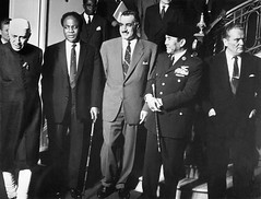 The leader of the top Five neutralist countries  standing to pose for media in Serbia in 1960 (Indian National Congress) Tags: portrait people india male history asia europe european president serbia group fulllength retro few arab unitednations egyptian prominentpersons government conference leader belgrade groupofpeople easterneurope yugoslavia primeminister sukarno southasia kwamenkrumah yugoslav westafrican balkanstates smallgroupofpeople headofstate governmentofficial gamalabdelnasser politicalleader ghanaian 1960sstyle caucasianethnicity africanethnicity indiansubcontinent governmentminister summitmeeting africanculture jawaharlalnehru josipbroztito northafricanculture middleeasternethnicity eastasianethnicity indonesianethnicity easterneuropeandescent middleeasternculture northafricanethnicity southeastasianethnicity asianandindianethnicities easterneuropeanculture nativeafricanethnicity