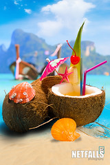 Coconut on the beach in Phi Phi island (Netfalls) Tags: ocean travel blue sea summer vacation sky food sun seascape hot tree tourism beach water closeup fruit thailand island star bay coast healthy marine paradise phiphi drink coconut outdoor scenic shell sunny lagoon calm fresh palm cocktail exotic coco shore tropical tropic caribbean nut idyllic tranquil refreshment