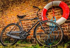 Vintage bicycle (Bev Goodwin) Tags: urban bike bicycle vintage bricks retro lifebuoy hdr brickwork ellesmereport nationalwaterwaysmuseum lowanglephotography sonyslta65v
