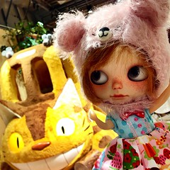 Stop that #Catbus! I need a ride to visit #Totoro, says #TuttiFrutti #ToleTole #custom #blythe