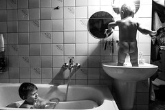 bathroom (I.Dostál) Tags: white black game children bathroom blackwhite child basin kuba franta ex1 blackandwhiteonly