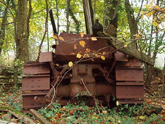 Rusty tracks (Hammerhead27) Tags: old uk abandoned metal trash crust woods junk rust foliage caterpillar devon crap forgotten rubbish wreck scrap agricultural oxidisation blackboroughhouse