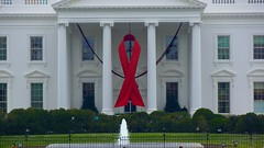 World AIDS Day - Red Ribbon on the White House Portico 33920