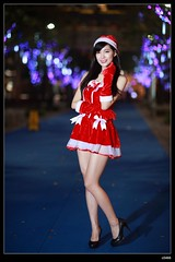 nEO_IMG__MG_6357 (c0466art) Tags: christmas school light red portrait white girl beautiful female night canon photo asia university pretty skin gorgeous skirt short attractive 5d lamps cloth charming pure c0466art