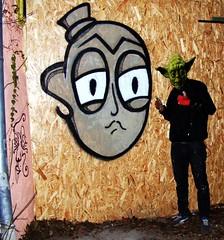 A STREET ART TE VAGY (Slomo, the only One) Tags: street white black art face hat grey graffiti paint spray roll slomo te nigga osb vagy