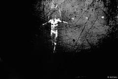 """Anguish or """"The black Moon"""" (░S░i░l░a░n░d░i░) Tags: life bw nature blackwhite circus mixedmedia january human sound acrobat scratch archetype ♫ 2014 yatkha renateeichert resilu"""
