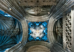Canterbury Cathedral Crossing Ceiling (White Stilton) Tags: uk england kent cathedral gothic canterbury ceiling 2014 thecrossing fanvaulting bellhenrytower