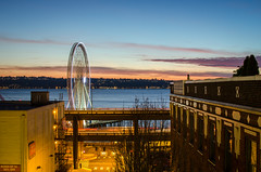 Another sunset (temaher) Tags: seattle sunset washington nikon day fb dusk pacificnorthwest wa pugetsound greatwheel d7000 pwpartlycloudy