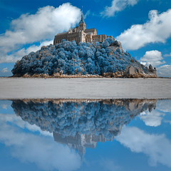 Wintry Blue Reflections of Mont Saint-Michel - HDR (freestock.ca  dare to share beauty) Tags: old travel blue sea sky cliff cloud brown white black france reflection building tower castle history classic tourism beach monument water saint st stone architecture clouds photomanipulation reflections wonderful french landscape ir michael photo big fantastic ancient scenery europe european image cloudy fort background stock creative scenic picture cyan free surreal landmark scene medieval structure historic mount fantasy photograph nicolas infrared raymond stmichel michel fortress normandy mont epic hdr resource saintmichel somadjinn freestockca vision:sky=0925 vision:outdoor=0942