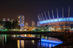 BC Place At Night (Clayton Perry Photoworks) Tags: winter canada skyline night vancouver buildings reflections lights bc falsecreek bcplace