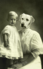 The Best Nanny Ever (Martine Roch) Tags: portrait dog baby cute sepia photoshop labrador child adorable surreal photomontage todler boudi nany dressedupdog martineroch