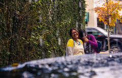 Friends. (moony: stupidly dreamy) Tags: girls friends water fountain smile smiling georgia fun happy drops downtown happiness tourists thomasville laugh
