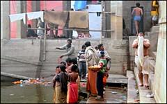 Life on the Ghats (Vincentdevincennes) Tags: portrait people india bath streetlife holy varanasi hinduism ganga ghat uttarpradesh lifeontheghats