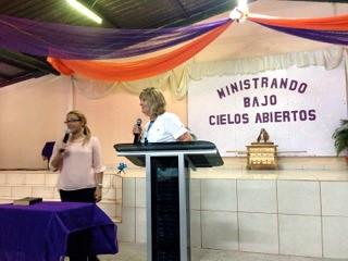 Cheryl preaching in Honduras