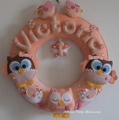 Para Vic com amor! (ateliepatybelluzzi) Tags: passarinho beb feltro decorao corujas portamaternidade corujinhas guirlandamaternidade guirlandacorujinhas