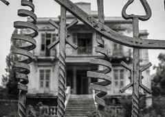 (giovdim) Tags: giovdim giovis greece thessaloniki building decay abandoned door metal villa monochrome macedoniagreece