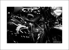 Vincent Black Prince (Descended from Ding the Devil) Tags: bw blackprince canon40d canonefs60mmmacro dof nationalmotorcyclemuseum vincent beyondbokeh blackandwhite bokeh depthoffield engine exhaust frontforks headlamp monochrome motorbike motorcyle mudguard petroltank photoborder primelens selectivefocus