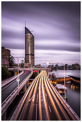 1 William Street, Brisbane (JakaPH Photography) Tags: busy traffic cityscape city brisbane sky skyscraper dusk sunset cars light trails long exposure queensland australia street road building clouds cloudy nd filter 10 lights river water movement motion urban