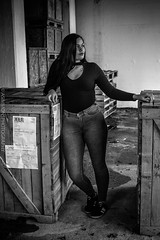 B&W (Dreadman1985) Tags: blackandwhite crates blacktop jeans chill