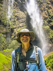 Andrew showing his great smile in front of Gocta waterfalls.