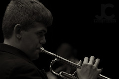 Warming Up (Joe Corll) Tags: muskingum university wind ensemble wpe trumpet instrument warm warming up player instrumentalist brass tuba trombone euphonium fluglehorn french horn valves oil corll jcorll zack friend concert high school group concerts classic music musical tuxedo sepia watermark watermarking copper
