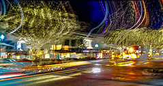 Downtown lightshow--DSC00063--Pacific Grove, CA (Lance & Cromwell back from a Road Trip) Tags: downtown pg pacificgrove montereypeninsula montereycounty california nightshots nightphotography sony sonyalpha a7s fe2870mm