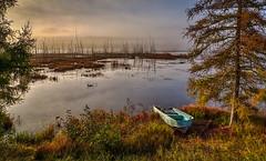 Early Morning at Shaw Pond (johnredin) Tags: fallfoliage fog hdr subject boats sunrise