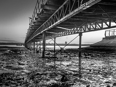Hythe - The pier at low tide (Kinesthesis) Tags: ferry beach sunrise bw hythe pier dawn hampshire uk sea southampton southamptonwater town shore