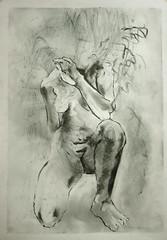 auf einem Knie (Alemwa) Tags: alemwa berlin kreuzberg zeichnung zeichnen sketching skectch akt aktzeichnung nude lifedrawing zeichnennachmodell woman frau portrait
