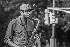 Sax Player, Washington Square Park (danperezfilms) Tags: washingtonsquarepark nyc newyork newyorkcity musician livemusic gh4 blackandwhite streetphotography sax saxophone