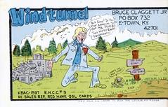 Red Hawk #33: Windtunnel - Elizabethtown, Kentucky (73sand88s by Cardboard America) Tags: qsl cbradio cb vintage postcard redhawk twopart man kentucky