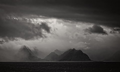 dark side (crazyhorse_mk) Tags: lofoten nordland norway nature landscape sea coast mountain fog rain sun clouds sky darkside bw blackwhite monochrome