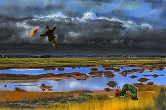 Windy Day on the Marsh (Rusty Russ) Tags: marsh cloud water umbrella flying wiggle worm colorful day streetart digital graffiti europe mer lago window flickr country landschaft mare analog bright happy la paysage colour eos scenic america cielo market hill world sunset beach sky flower red nature blue night white tree green art light sun park landscape summer city yellow people pink house old new photoshop google bing yahoo stumbleupon getty national geographic magazine creative
