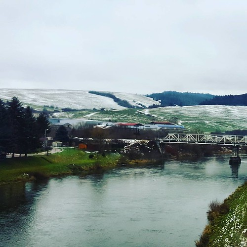 Almost frozen. #river, #crossing, #bridge, #Autumn, #snowfields, #rural, #winteriscoming, ##solotravelling, #LuxExpressBus, #scenicdrive, #KrakowtoBudapest, #Poland