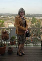 Boucle Sheath Dress and Blazer (krislagreen) Tags: tg tgirl transgender transvestite cd crossdress dress blazer suede tan brown hazelnut patent pumps stilettos femme feminized feminization