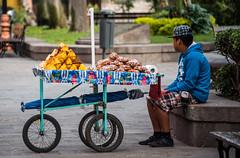 2016 - Mexico - San Luis Potosi - El Jardin de San Francisco - Sweet Sales 3 of 3 (Ted's photos - Returns late December) Tags: 2016 cropped mexico nikon nikond750 nikonfx sanluispotosi tedmcgrath tedsphotos tedsphotosmexico vignetting plazasanfrancisco plazasanfranciscosanluispotosi foodcart wheels umbrella park parkscene ballcap spokes boy male wagon tricycle