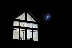 A Nautical Home at Night (Simon Downham) Tags: dsc63112a£23 night moon midnight house yacht shadow silhouette angular angles triangle triangular sail shape dark light mono tone black white cowes england unitedkingdom gb half crescent
