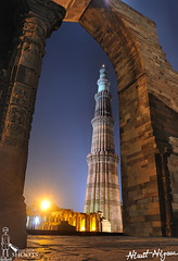Qutub at Night... (nimitnigam) Tags: world life from new city moon india heritage monument architecture night speed photography photo nikon long exposure photographer slow image photos delhi indian famous images stop frame shutter moonlight shoots monuments dilli qutub minar nimit stops nigam d90