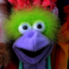 Purple and Green Fraggle (arbyreed) Tags: green closeup catchycolors colorful close purple fraggle fragglerock handpuppet colorfulcharacter arbyreed purpleandgreenfraggle