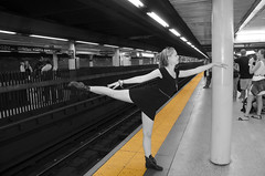 Don't Cross the Yellow Line (RandyTalley) Tags: nyc newyorkcity ballet yellow train subway dance ballerina dancer thebestyellow