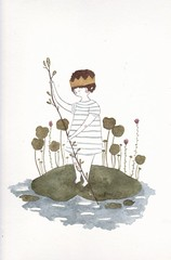 The Water Lily Prince (Pocket-mouse) Tags: boy cute art nature illustration watercolor painting waterlily drawing fairy tale