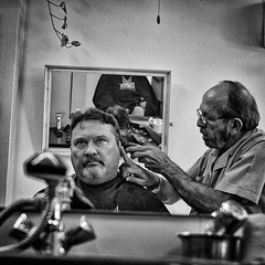 selfie-3 (big andrei) Tags: leica bw selfportrait reflection mirror grain barbershop m82 28mm28 elmaritm