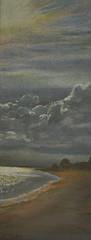 West Mersea, Essex (amanda.parker377) Tags: sea clouds sunburst essex beachhuts mersea pasteldrawing pastellandscape
