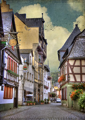 German Village (Cat Girl 007) Tags: old manipulated germany photography europe medieval historical charming rhein rhineland oldfashioned nationalgeographic rhineriver bacharach colorimage cobblestonestreet germanculture verticalcomposition timberframehouses germantraditional magicunicornverybest