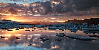 Sunset at Jokulsarlon, Iceland