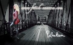Vanessa on the bridge (piloukam) Tags: red white black rot girl lady fetish rouge shoes noir highheels boots barbie gimp route montage pont heels spike blanc fer bottes compositing lany fekete fehér lfv hautstalons ladyfetishvanessa