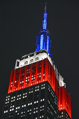 Picture Of Empire State Building Lit Up In Honor Of Veterans Day (Blue/White/Red). Photo Taken Monday November 11, 2013 (ses7) Tags: building state empire