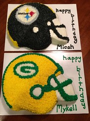 Steelers and Packers Cake, by Cristy, RDU, NC, www.birthdaycakes4free.com
