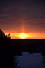 Sun Pillar (evanlochem) Tags: winter light sun canada cold sunrise pillar optical manitoba february erickson phenomena